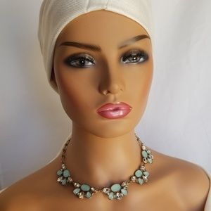 J Crew vintage inspired Gold Green Necklace